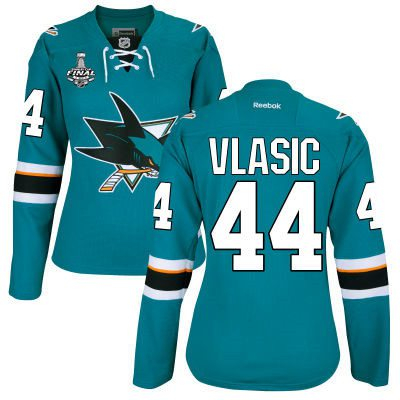 Women's San Jose Sharks #44 Marc-Edouard Vlasic Teal Blue 2016 Stanley Cup Home NHL Finals Patch Jersey