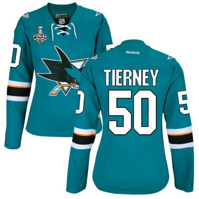 Women's San Jose Sharks #50 Chris Tierney Teal Blue 2016 Stanley Cup Home NHL Finals Patch Jersey