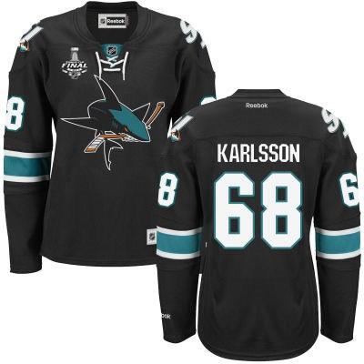 Women's San Jose Sharks #68 Melker Karlsson Black Third 2016 Stanley Cup NHL Finals Patch Jersey