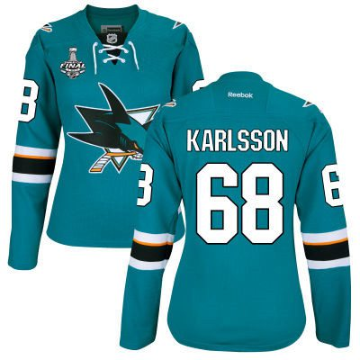 Women's San Jose Sharks #68 Melker Karlsson Teal Blue 2016 Stanley Cup Home NHL Finals Patch Jersey
