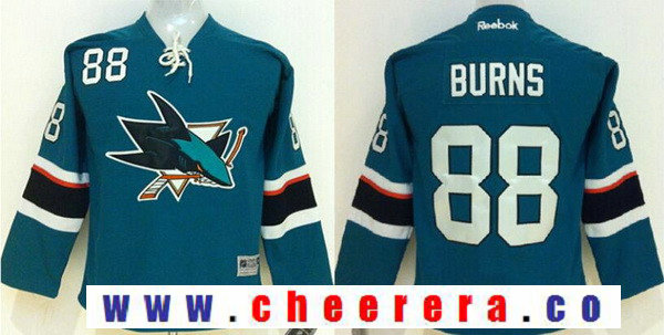 Women's San Jose Sharks #88 Brent Burns Teal Blue Stitched NHL Reebok Hockey Jersey