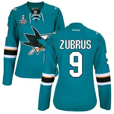 Women's San Jose Sharks #9 Dainius Zubrus Teal Blue 2016 Stanley Cup Home NHL Finals Patch Jersey