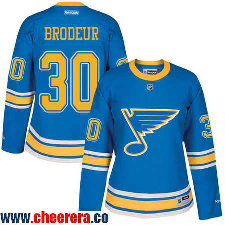 Women's St. Louis Blues #30 Martin Brodeur Blue 2017 Winter Classic Stitched NHL Reebok Hockey Jersey