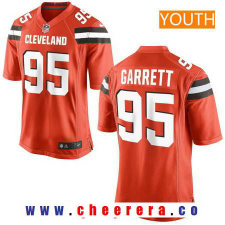 Youth 2017 NFL Draft Cleveland Browns #95 Myles Garrett Orange Alternate Stitched NFL Nike Game Jersey