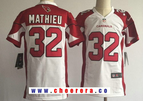 Youth Arizona Cardinals #32 Tyrann Mathieu White Road Stitched NFL Nike Game Jersey