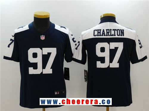Youth Dallas Cowboys #97 Taco Charlton Navy Blue Thanksgiving 2017 Vapor Untouchable Stitched NFL Nike Limited Jersey