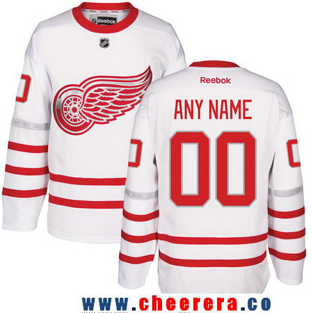 Youth Detroit Red Wings Reebok White 2017 Centennial Classic Custom Stitched Hockey Jersey