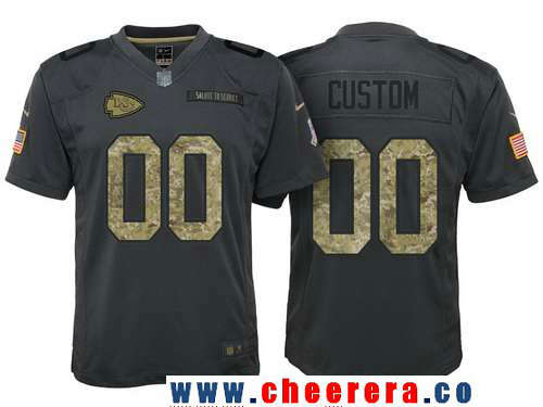 Youth Kansas City Chiefs Custom Anthracite Camo 2016 Salute To Service Veterans Day NFL Nike Limited Jersey