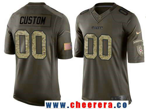 Youth Kansas City Chiefs Custom Olive Camo Salute To Service Veterans Day NFL Nike Limited Jersey