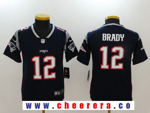 Youth New England Patriots #12 Tom Brady Navy Blue 2017 Vapor Untouchable Stitched NFL Nike Limited Jersey