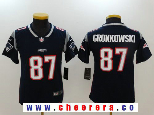 Youth New England Patriots #87 Rob Gronkowski Navy Blue 2017 Vapor Untouchable Stitched NFL Nike Limited Jersey
