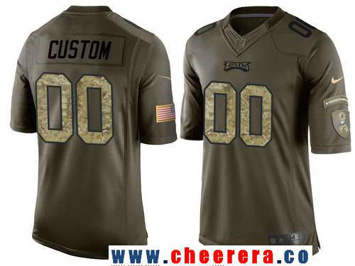Youth Philadelphia Eagles Custom Olive Camo Salute To Service Veterans Day NFL Nike Limited Jersey