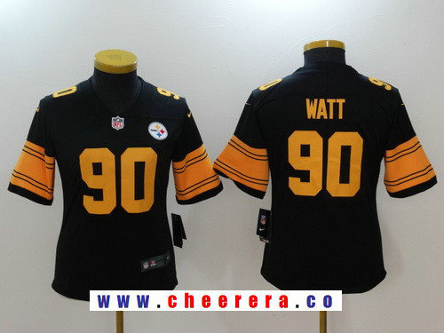 Youth Pittsburgh Steelers #90 T. J. Watt Black 2016 Color Rush Stitched NFL Nike Limited Jersey