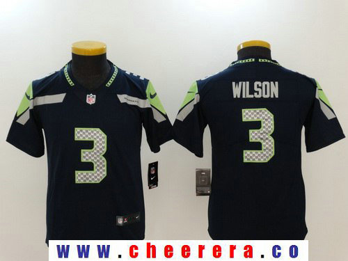 Youth Seattle Seahawks #3 Russell Wilson Navy Blue 2017 Vapor Untouchable Stitched NFL Nike Limited Jersey