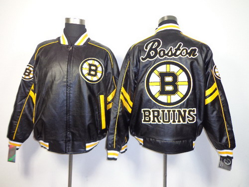 Boston Bruins Blank Black Leather Coat