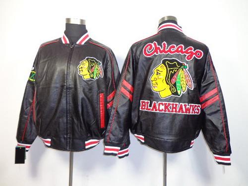 Chicago Blackhawks Blank Black Leather Coat