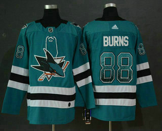en's San Jose Sharks #88 Brent Burns Teal Green Drift Fashion Adidas Stitched NHL Jersey