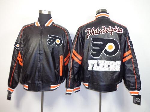 Philadelphia Flyers Blank Black Leather Coat