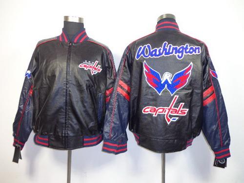Washington Capitals Blank Black Leather Coat